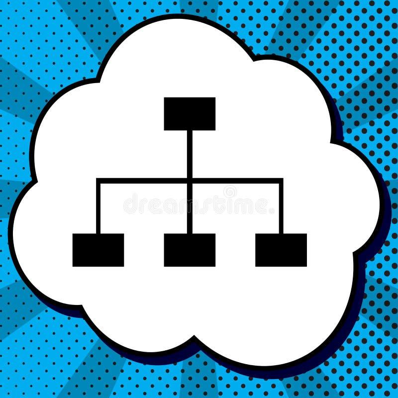 Overzicht van de websiteteken Vector Zwart pictogram in bel op blauwe pop-artrug stock illustratie