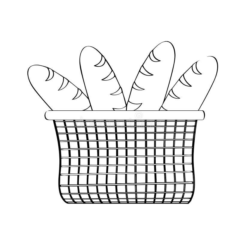Overzicht van een mand met broden royalty-vrije illustratie