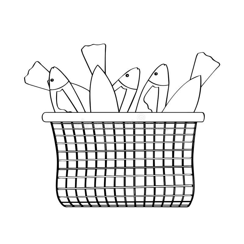 Overzicht van een mand met vissen vector illustratie