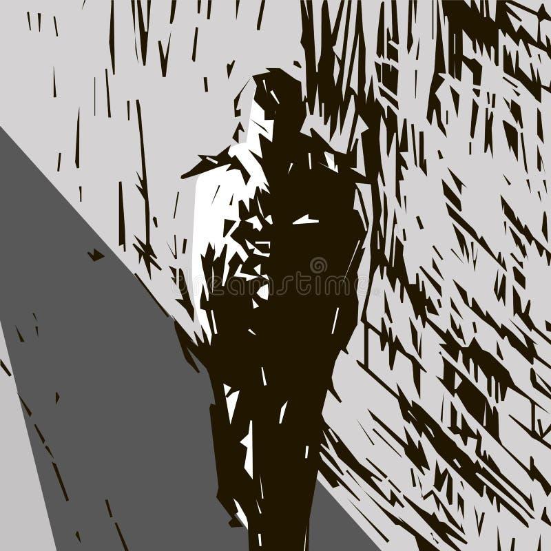 Overzicht van een mens die langs de straat voorbij het huis van de hogere juiste hoek van het beeld aan de lagere juiste hoek lop royalty-vrije illustratie