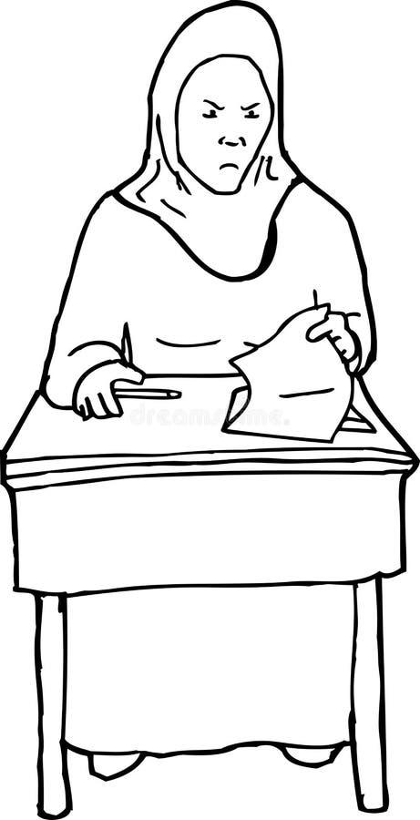 Overzicht van Gefrustreerde Student bij Bureau stock illustratie