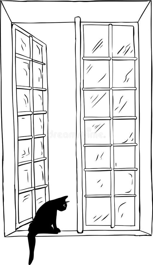 Overzicht van kat die uit open venster kijken stock illustratie