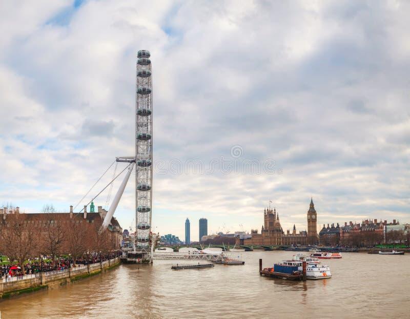 Overzicht van Londen met het Oog van Coca-Cola Londen royalty-vrije stock afbeelding