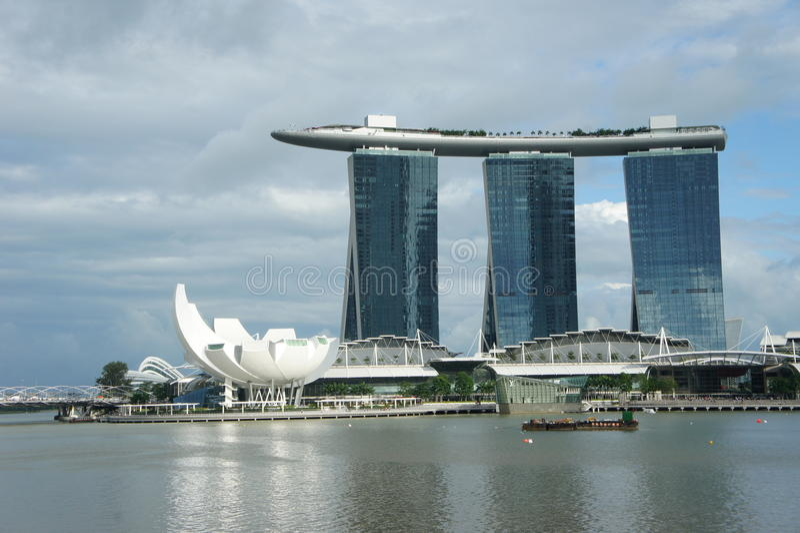 Overzicht van Marina Bay Sands stock fotografie