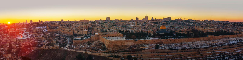Overzicht van Oude Stad in Jeruzalem, Israël stock foto