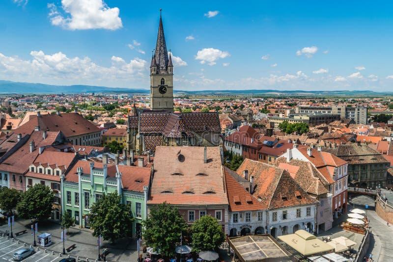 Overzicht van Sibiu, mening van hierboven, Transsylvanië, Roemenië, Juli stock afbeelding