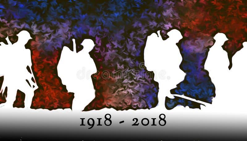 Overzicht van WWI-militairen die over kleurrijke ontploffingen bij nacht lopen royalty-vrije illustratie