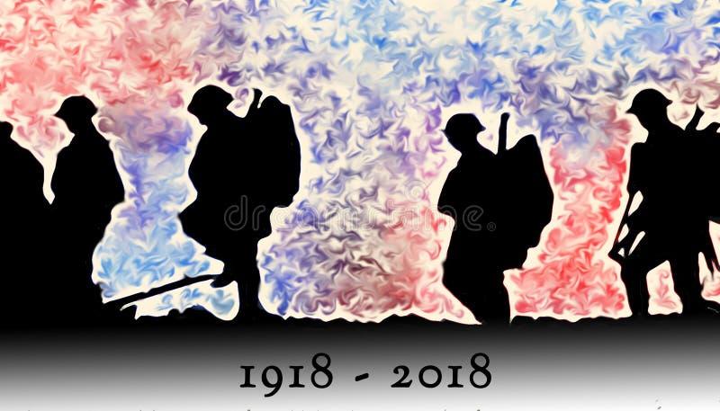 Overzicht van WWI-militairen die over kleurrijke ontploffingen lopen stock illustratie