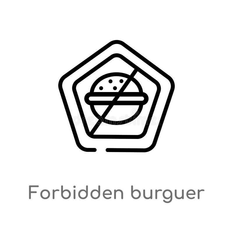 overzicht verboden burguer vectorpictogram de geïsoleerde zwarte eenvoudige illustratie van het lijnelement van voedselconcept Ed stock illustratie