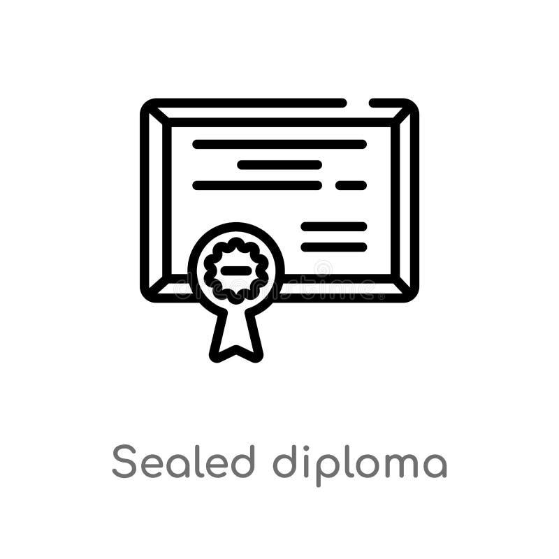 overzicht verzegeld diploma vectorpictogram r Editable vectorslag vector illustratie