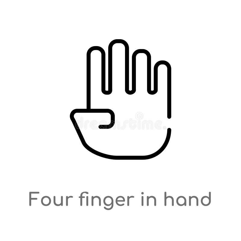 overzicht vier vinger in hand vectorpictogram de ge?soleerde zwarte eenvoudige illustratie van het lijnelement van vormenconcept  royalty-vrije illustratie