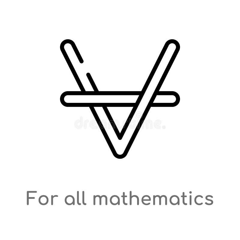 overzicht voor al wiskunde vectorpictogram de ge?soleerde zwarte eenvoudige illustratie van het lijnelement van tekensconcept Edi stock illustratie