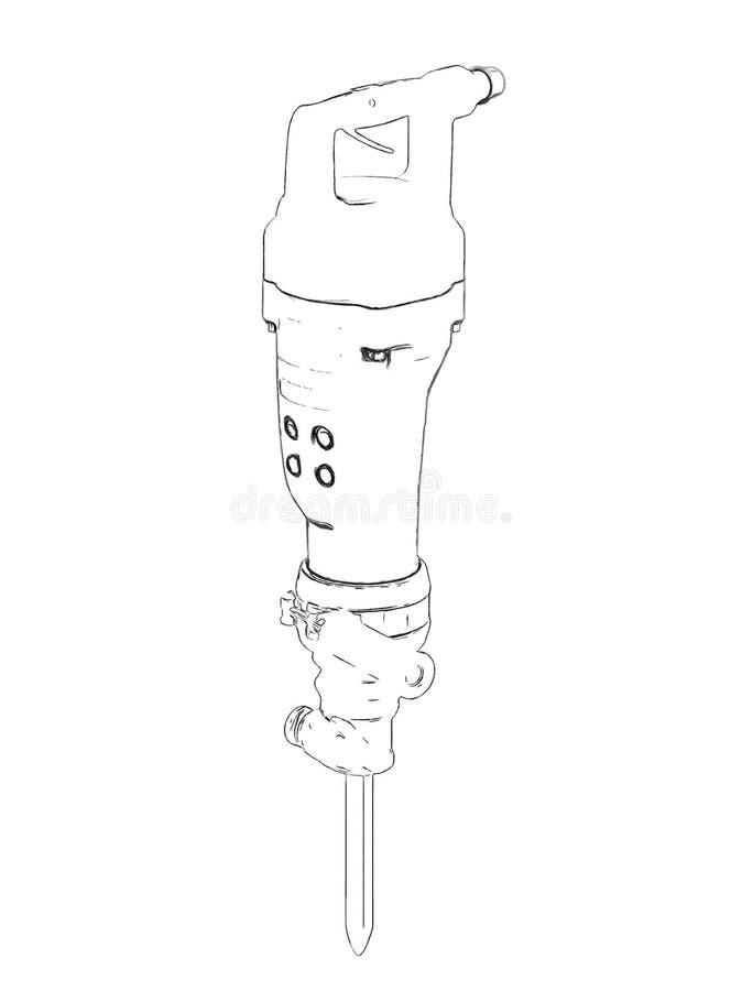 Overzichten van jackhammer vector illustratie