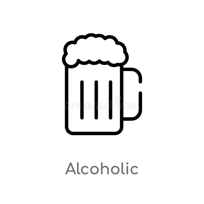 overzichts alcoholisch vectorpictogram de ge?soleerde zwarte eenvoudige illustratie van het lijnelement van voedselconcept editab stock illustratie