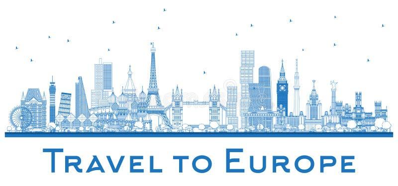 Overzichts Beroemde oriëntatiepunten in Europa Londen, Parijs, Moskou, Rome stock illustratie