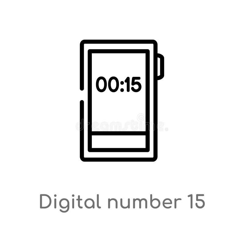 overzichts digitaal nummer 15 vectorpictogram de ge?soleerde zwarte eenvoudige illustratie van het lijnelement van technologiecon vector illustratie