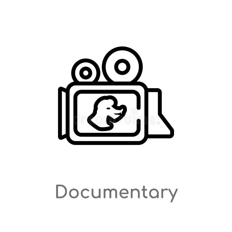 overzichts documentair vectorpictogram de geïsoleerde zwarte eenvoudige illustratie van het lijnelement van dierenconcept Editabl vector illustratie