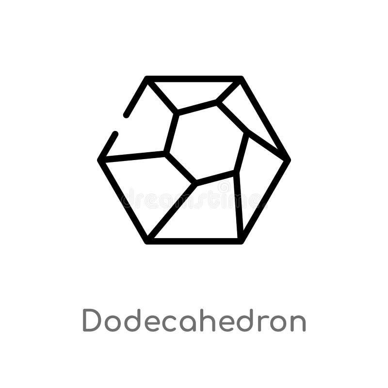 overzichts dodecahedron vectorpictogram de geïsoleerde zwarte eenvoudige illustratie van het lijnelement van meetkundeconcept Edi stock illustratie