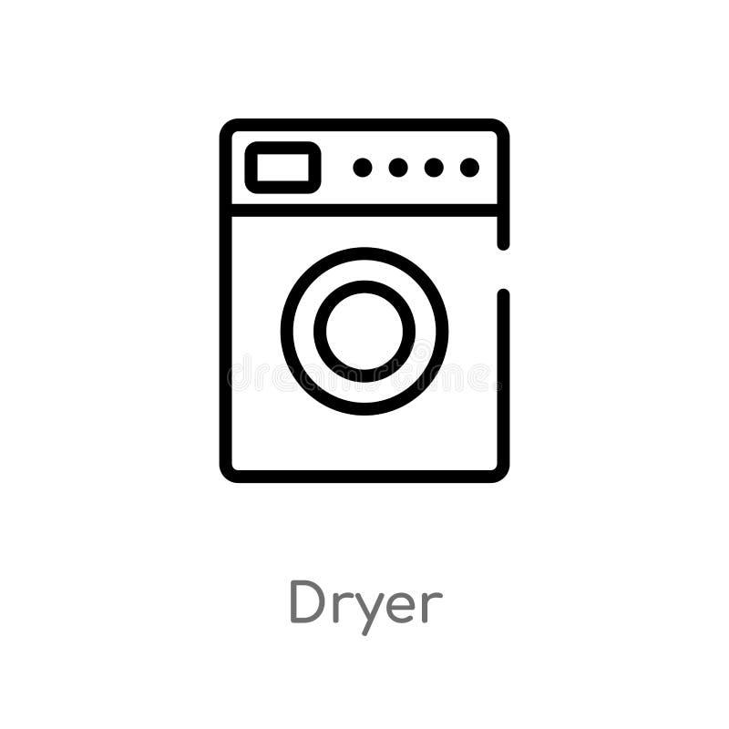 overzichts droger vectorpictogram de geïsoleerde zwarte eenvoudige illustratie van het lijnelement van hygiëneconcept editable ve vector illustratie