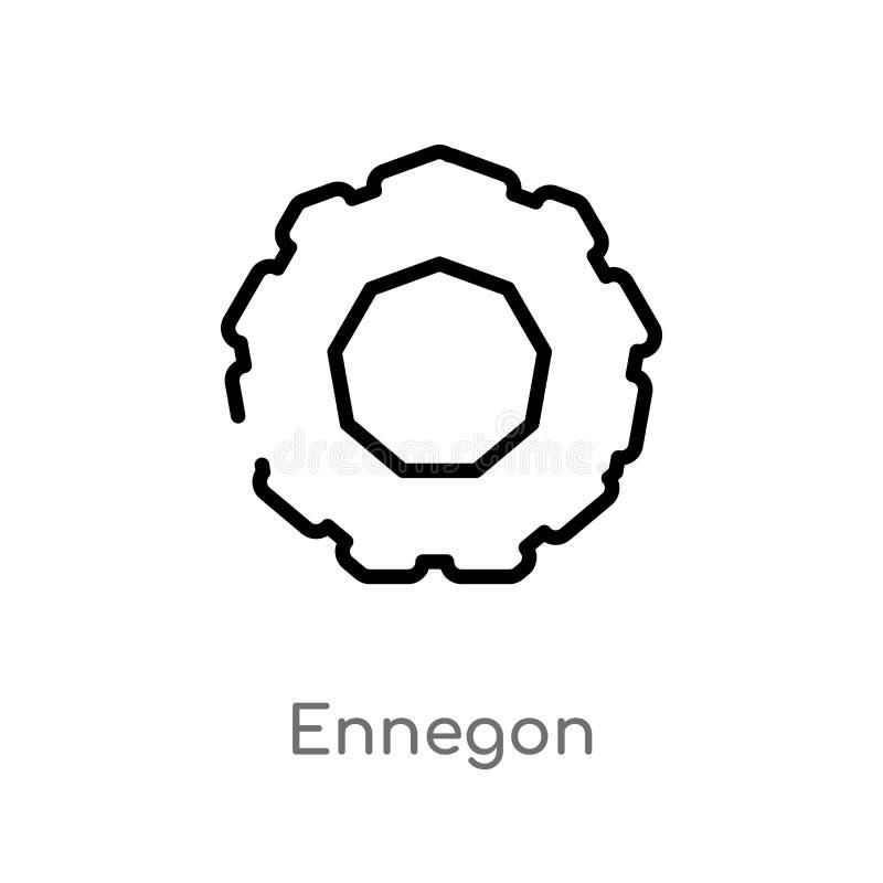 overzichts ennegon vectorpictogram de geïsoleerde zwarte eenvoudige illustratie van het lijnelement van meetkundeconcept editable royalty-vrije illustratie