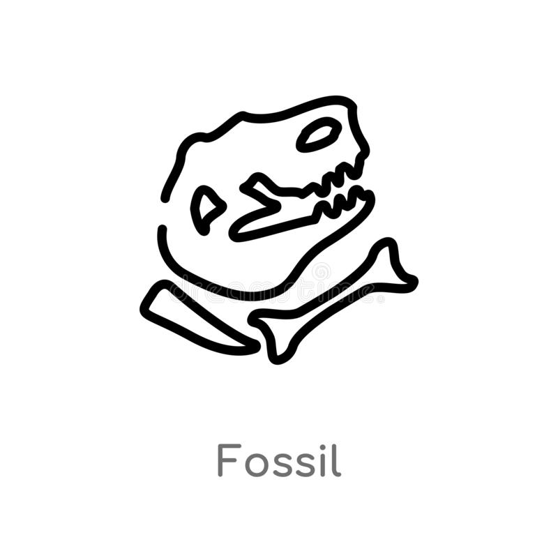 overzichts fossiel vectorpictogram de geïsoleerde zwarte eenvoudige illustratie van het lijnelement van geschiedenisconcept edita royalty-vrije illustratie
