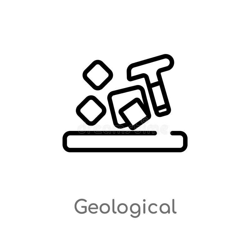 overzichts geologisch vectorpictogram de geïsoleerde zwarte eenvoudige illustratie van het lijnelement van museumconcept Editable vector illustratie