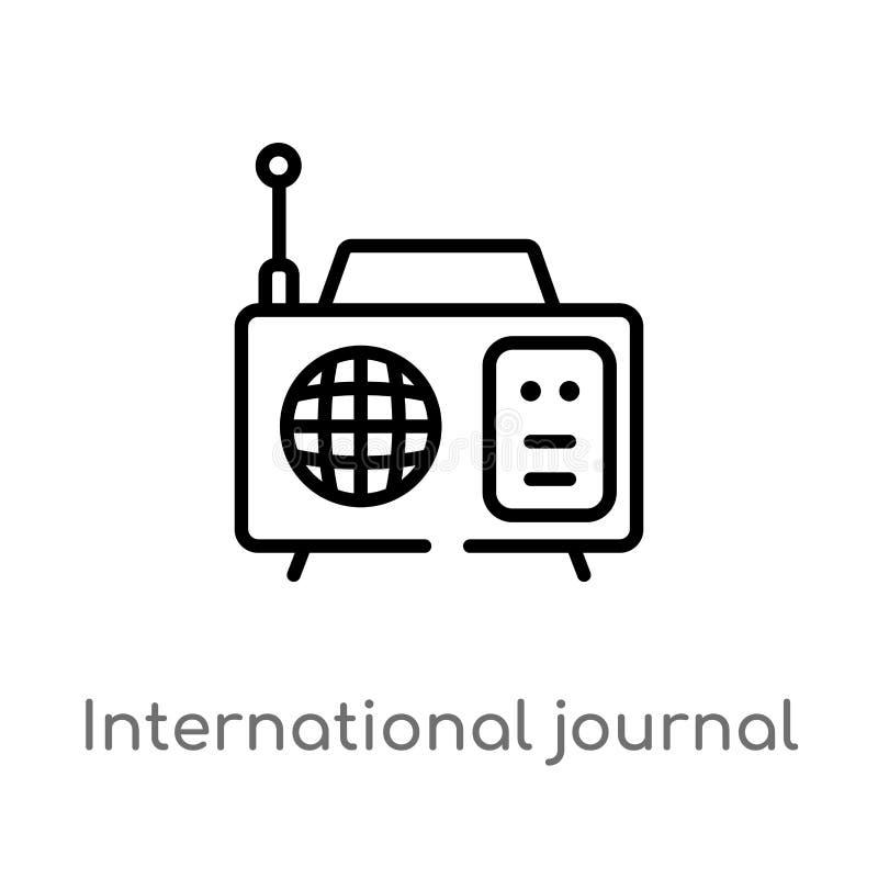overzichts internationaal dagboek door radio vectorpictogram de ge?soleerde zwarte eenvoudige illustratie van het lijnelement van royalty-vrije illustratie