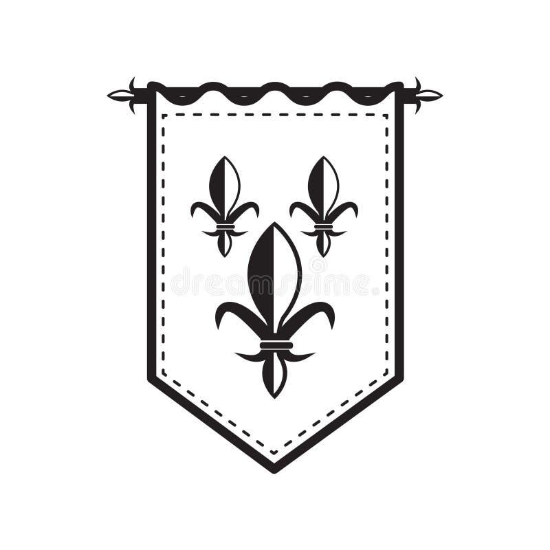 Overzichts middeleeuwse vlag stock illustratie