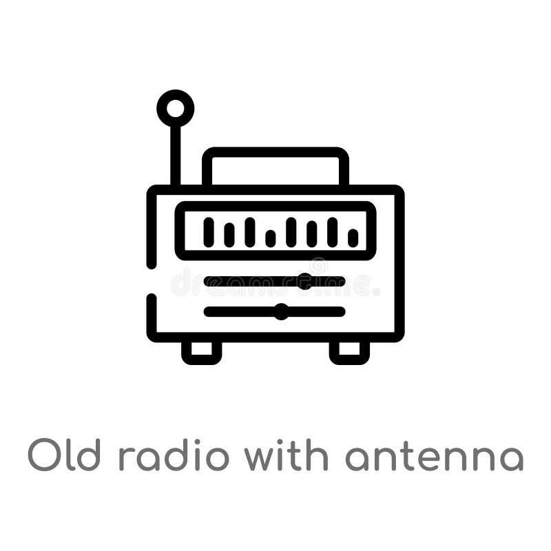 overzichts oude radio met antenne vectorpictogram de geïsoleerde zwarte eenvoudige illustratie van het lijnelement van uiteindeli vector illustratie