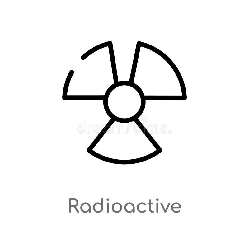 overzichts radioactief vectorpictogram de ge?soleerde zwarte eenvoudige illustratie van het lijnelement van tekensconcept Editabl royalty-vrije illustratie