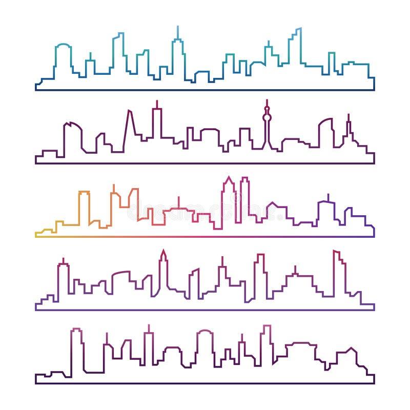 Overzichts stedelijke vectorcityscape geïsoleerde reeks Kleurrijke de lijnsilhouetten van de horizonstad vector illustratie