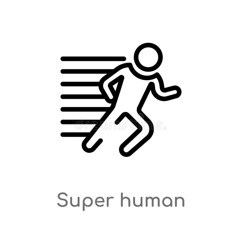 overzichts super menselijk vectorpictogram de geïsoleerde zwarte eenvoudige illustratie van het lijnelement van gevoelsconcept Ed vector illustratie