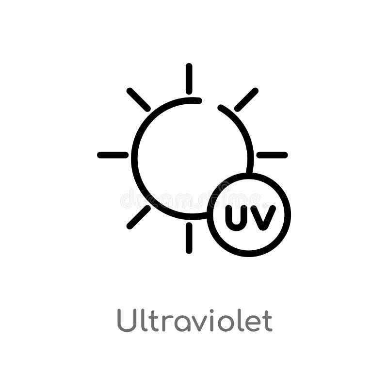 overzichts ultraviolet vectorpictogram de geïsoleerde zwarte eenvoudige illustratie van het lijnelement van weerconcept Editable  royalty-vrije illustratie
