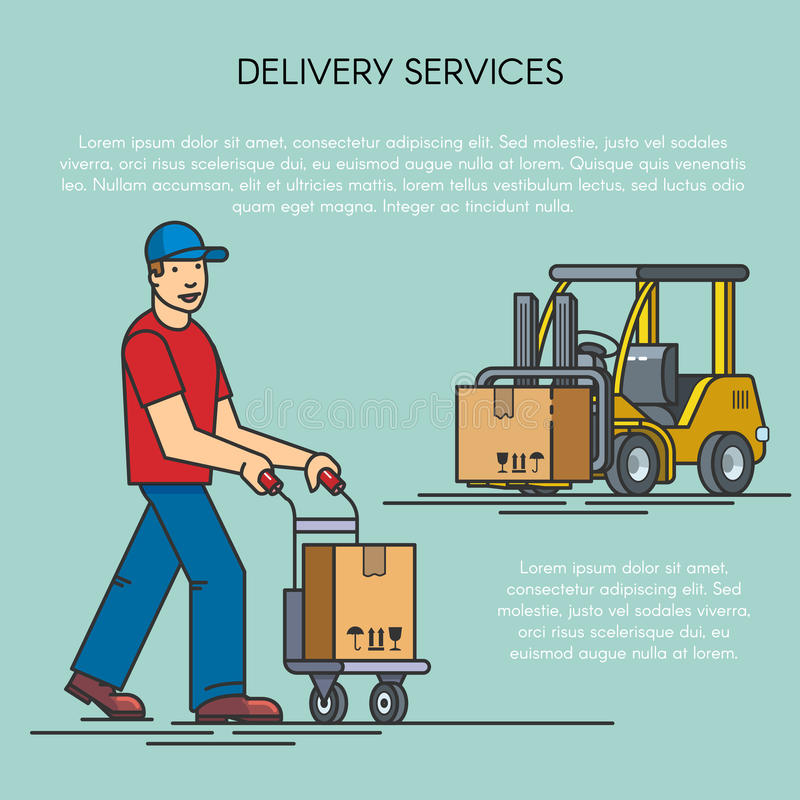 Overzichts vlakke illustratie van distributiegoederen van pakhuis door vorkheftruck, mens met leveringskar logistisch royalty-vrije illustratie