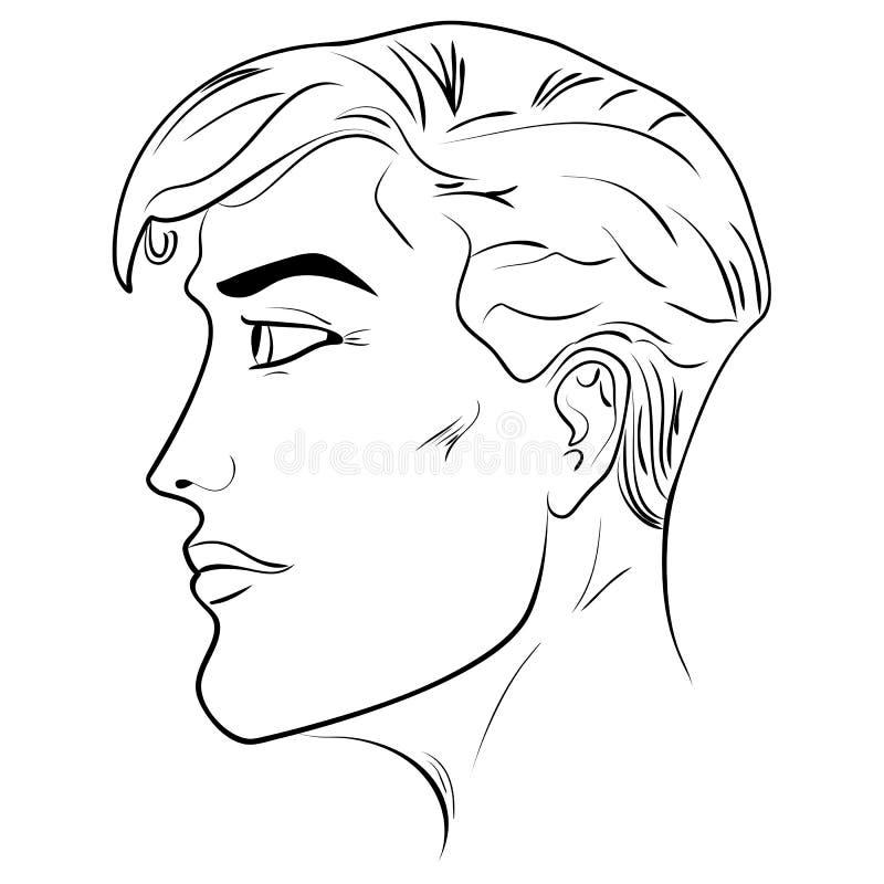 Overzichts zijprofiel van een menselijk mannelijk hoofd vector illustratie