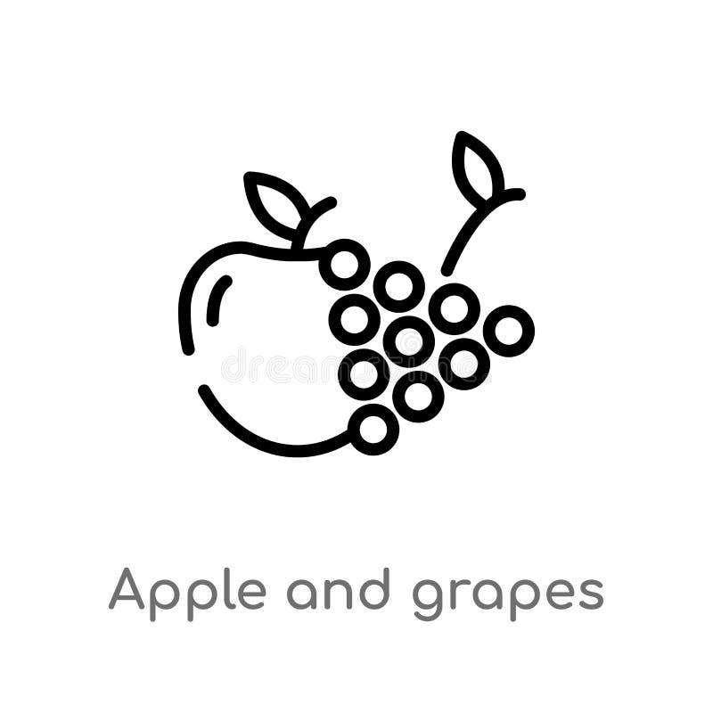 overzichtsappel en druiven vectorpictogram de ge?soleerde zwarte eenvoudige illustratie van het lijnelement van voedselconcept Ed vector illustratie