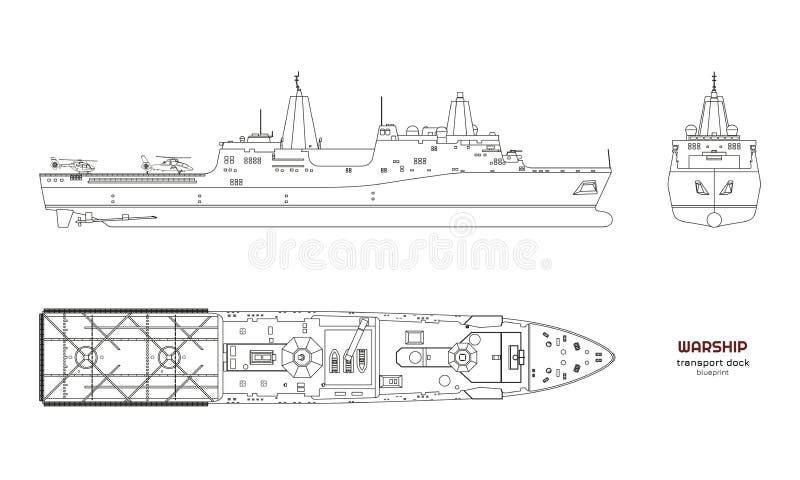 Overzichtsbeeld van militair schip Hoogste, voor en zijaanzicht slagschip Industriële geïsoleerde tekening van boot Oorlogsschip  vector illustratie