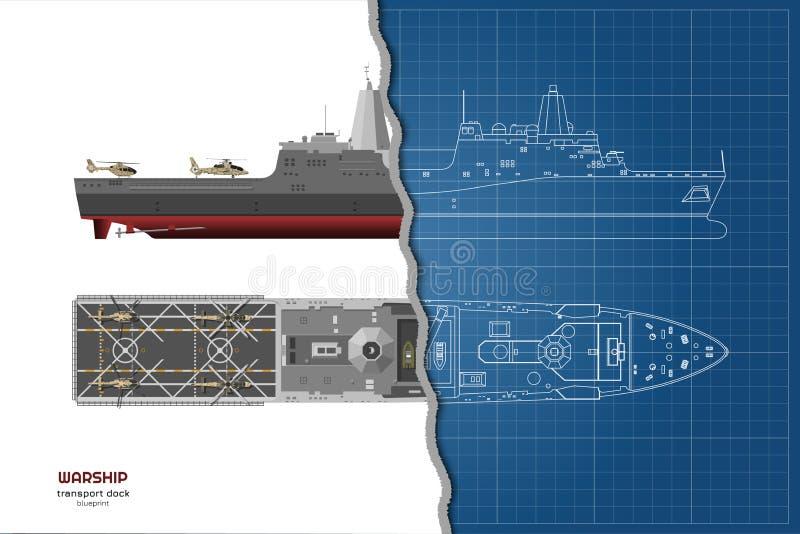 Overzichtsblauwdruk van militair schip Hoogste, voor en zijaanzicht Slagschip 3d model Industriële geïsoleerde tekening van boot stock illustratie