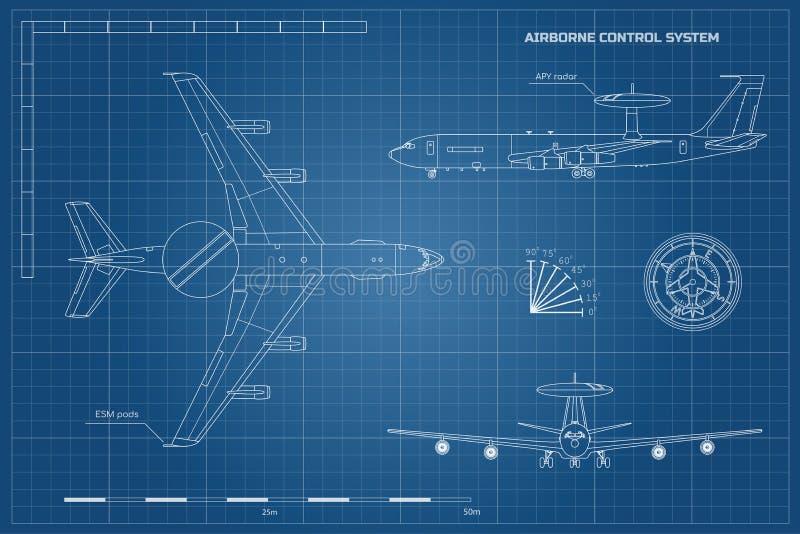 Overzichtsblauwdruk van militaire vliegtuigen Hoogste, voor en zijaanzicht Legervliegtuig met waarschuwing en controlesysteem in  stock illustratie