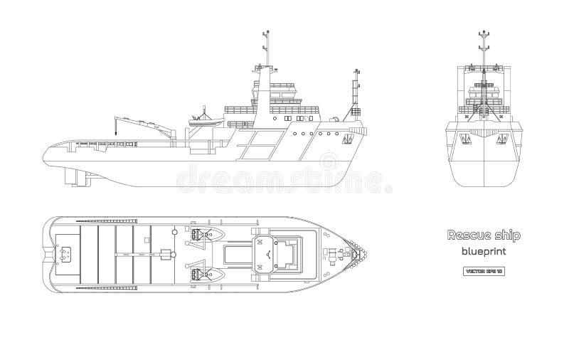 Overzichtsblauwdruk van reddingsschip op witte achtergrond Hoogste, zij en vooraanzicht De industrietekening Geïsoleerd beeld van royalty-vrije illustratie