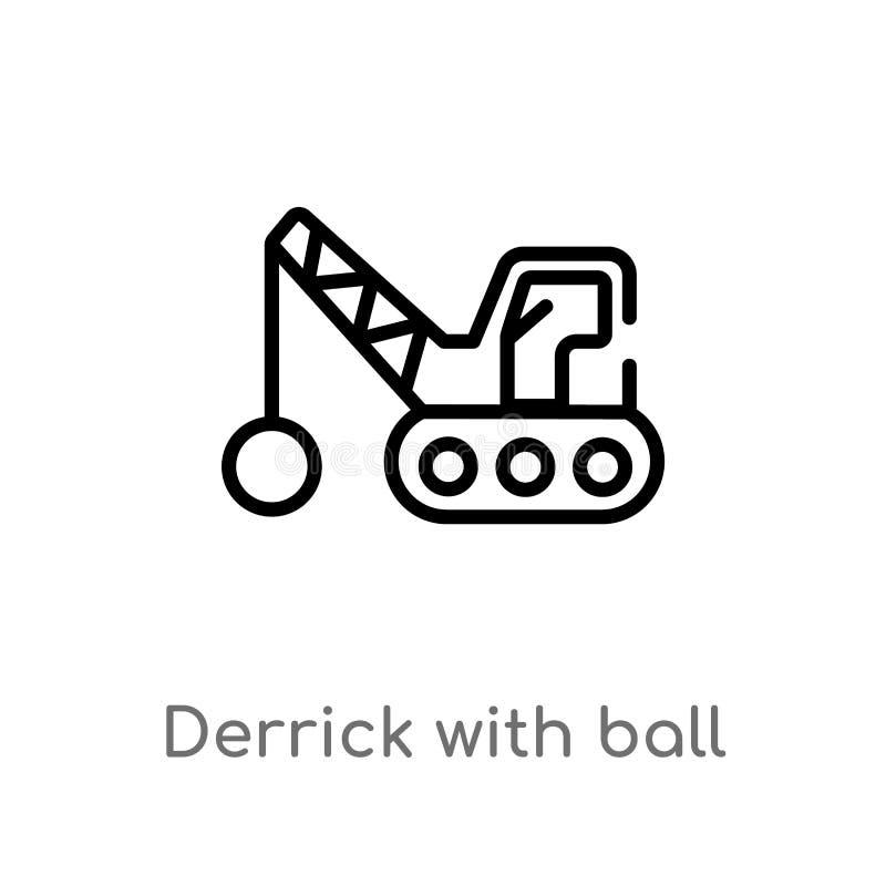 overzichtsboortoren met bal vectorpictogram de ge?soleerde zwarte eenvoudige illustratie van het lijnelement van bouwconcept Edit stock illustratie