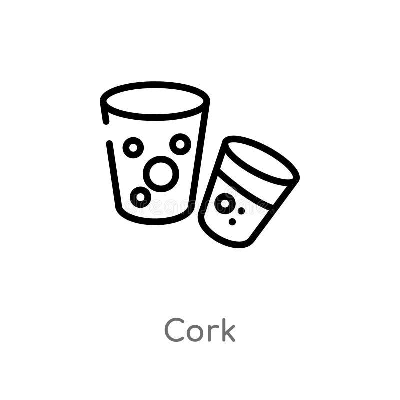 overzichtscork vectorpictogram de geïsoleerde zwarte eenvoudige illustratie van het lijnelement van alcoholconcept editable vecto vector illustratie