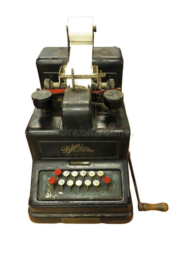 Overzichtsfoto van oude zwarte calculator royalty-vrije stock afbeelding
