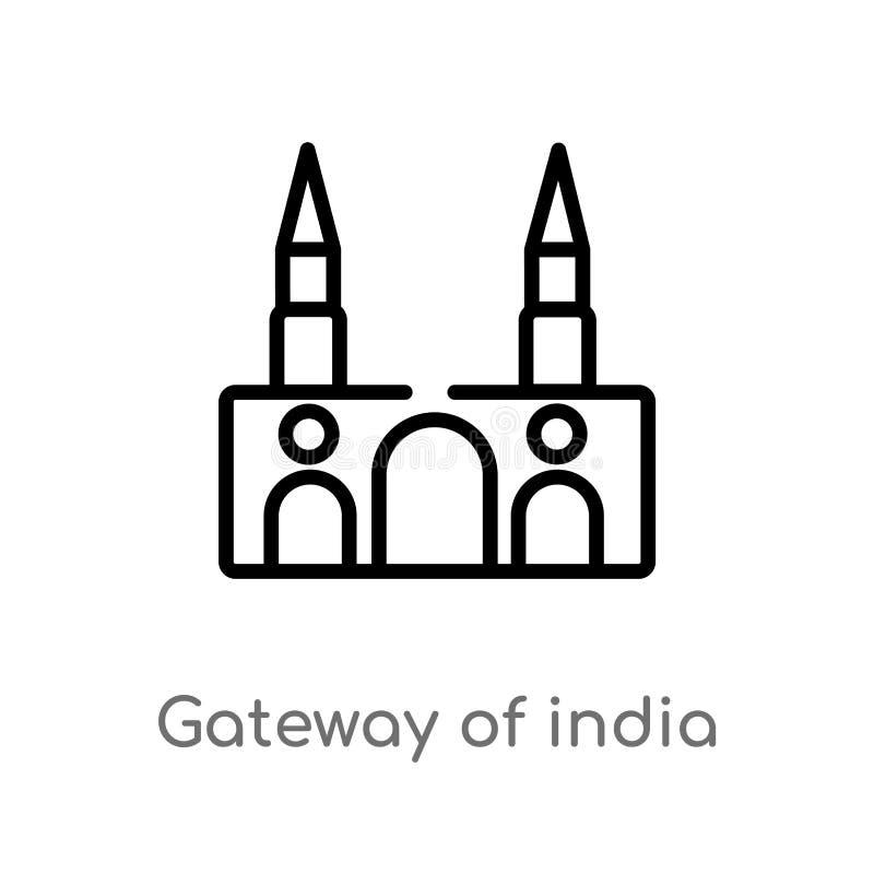 overzichtsgateway van het vectorpictogram van India de ge?soleerde zwarte eenvoudige illustratie van het lijnelement van monument royalty-vrije illustratie
