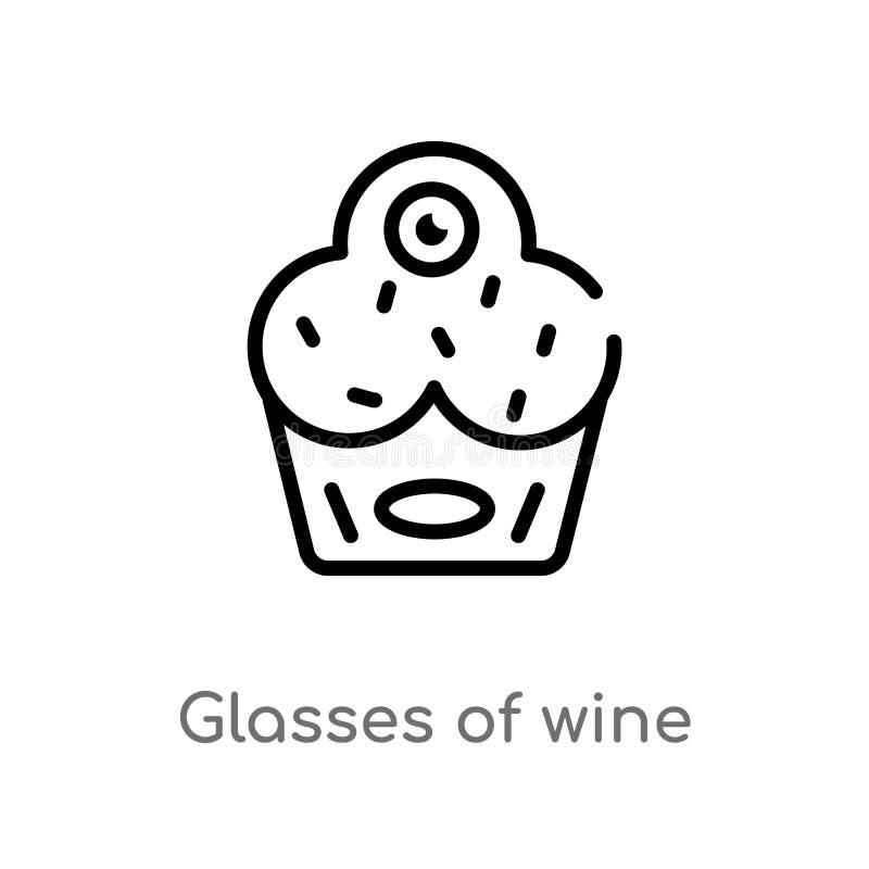 overzichtsglazen van wijn vectorpictogram de ge?soleerde zwarte eenvoudige illustratie van het lijnelement van voedselconcept Edi royalty-vrije illustratie
