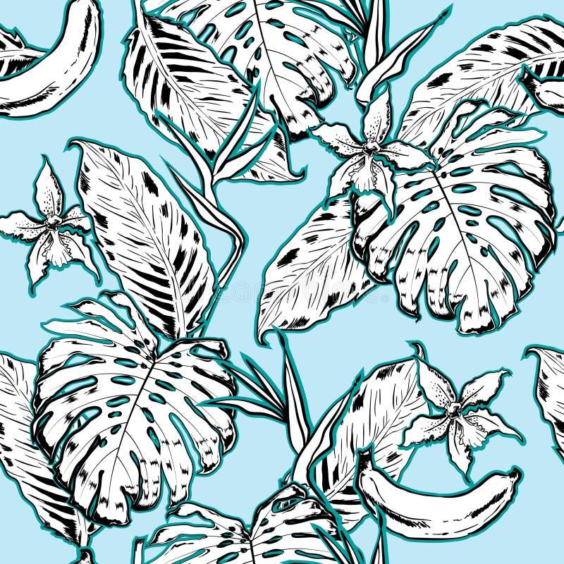 Overzichtshand die Exotisch bladeren naadloos patroon trekken Tropisch le royalty-vrije illustratie
