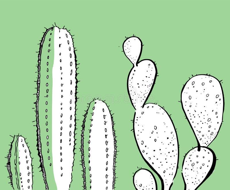 Overzichtshand getrokken vectorillustratie met twee cactussen voor kaarten en affiches zwart-wit op groen royalty-vrije illustratie