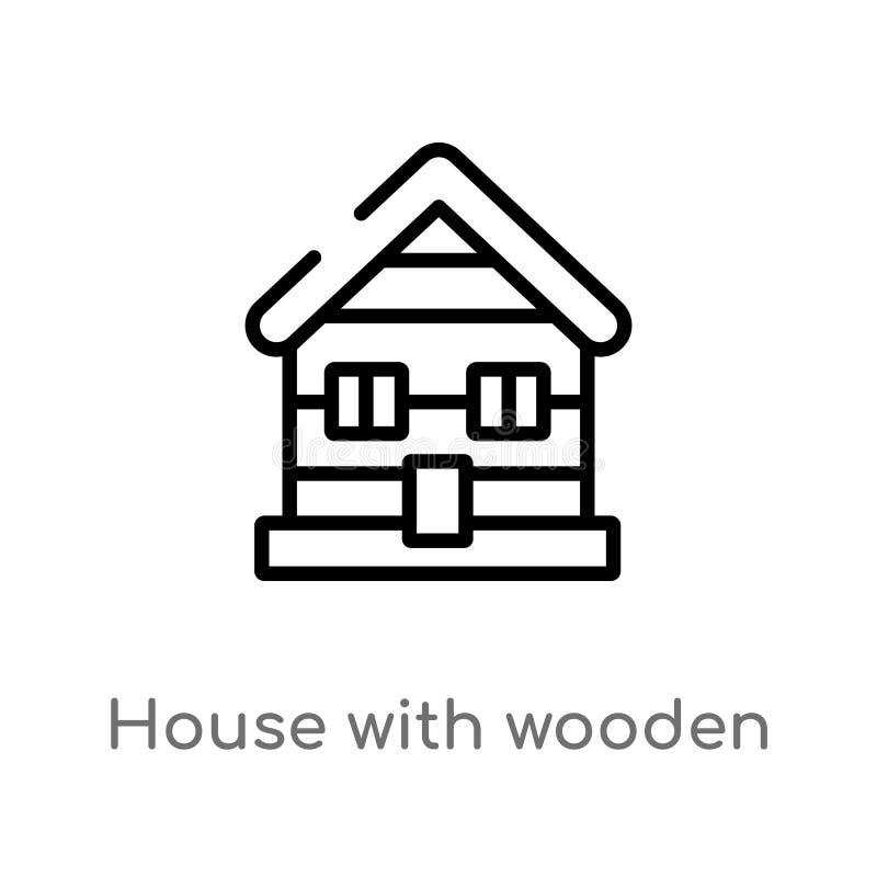 overzichtshuis met houten dak vectorpictogram de geïsoleerde zwarte eenvoudige illustratie van het lijnelement van gebouwenconcep royalty-vrije illustratie