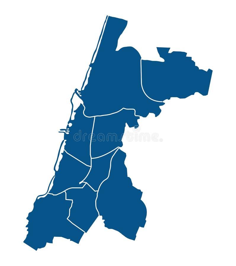 Overzichtskaart van de districten van Tel Aviv stock illustratie