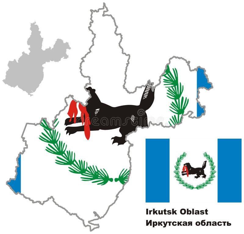 Overzichtskaart van Irkoetsk Oblast met vlag vector illustratie